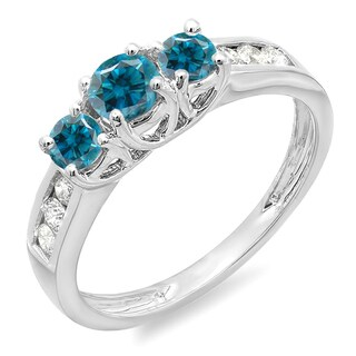 Elora 10k Gold 7/8ct TDW Blue and White Diamond 3-stone Engagement Bridal Ring (I-J, I1-I2)