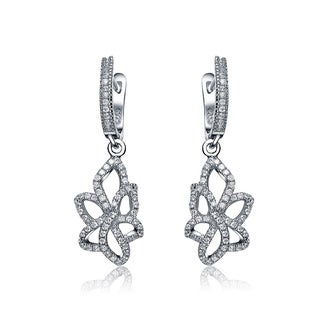 Collette Z Sterling Silver Cubic Zirconia Open Flower Dangle Earrings