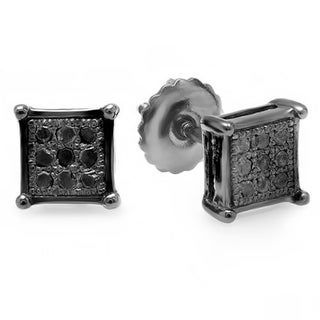 Elora Black over Silver Men's Black Diamond Accent Square Hip Hop Stud Earrings