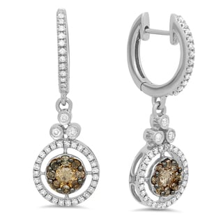 14k Gold 3/4 ct TDW Round Champagne & White Diamond Ladies Halo Style Dangling Drop Earrings (I-J & Champagne, I1-I2 & I2-I3)