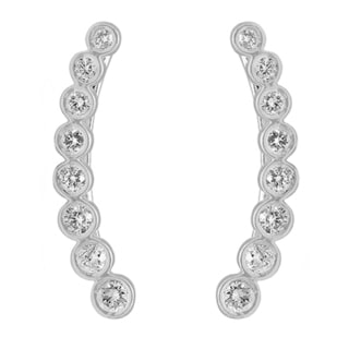 Elora 14k White Gold 5/8ct TDW White Diamond Journey Curved Climber Earrings (I-J, I1-I2)