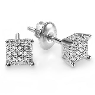 Elora Sterling Silver Men's 1/3ct TDW Diamond Ice Cube Stud Earrings (I-J, I2-I3)