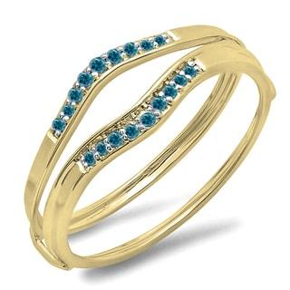 Elora 10k Gold 1/8ct TDW Blue Diamond Anniversary Enhancer Band (I2-I3)