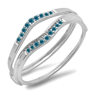 Elora 10k Gold 1/8ct TDW Blue Diamond Anniversary Enhancer Band (I2-I3)