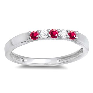 Elora 10k White Gold 1/4ct TDW Diamond and Ruby 5-stone Anniversary Ring (I-J, I2-I3)