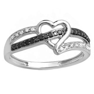 Elora 10k Gold 1/5ct TDW Black and White Diamond Heart Engagement Ring (I-J, I2-I3)