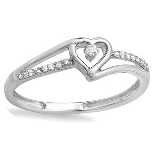 Elora 10k Gold 1/10ct TDW Diamond Heart Promise Ring (I-J, I2-I3)