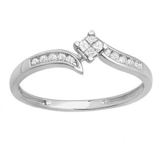 Elora 10k White Gold 1/4ct TDW Diamond Engagement Bridal Ring (I-J, I2-I3)