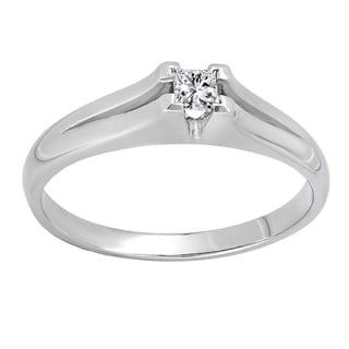 Elora 10k White Gold Diamond Accent Split Shank Solitaire Bridal Promise Ring (I-J, I2-I3)