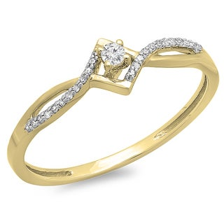 10k Gold 1/8ct TDW White Diamond Bypass Style Promise Ring (I-J, I2-I3)