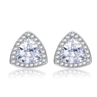 Collette Z Sterling Silver Cubic Zirconia Traingle Knob Earrings