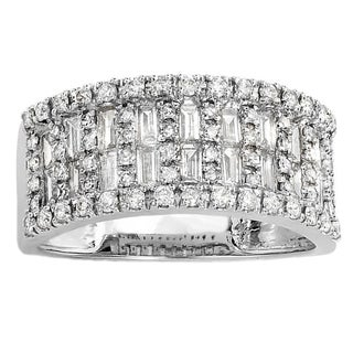 Elora 14k White Gold 1ct TDW Baguette Diamond Anniversary Wedding Band Ring (H-I, I1-I2)