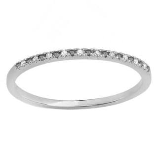Elora 10k White Gold 1/10ct TDW Black and White Diamond Dainty Stackable Ring (I-J, I2-I3)