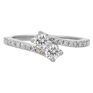 Elora 14k Gold 1/2ct TDW Diamond 2-stone Bypass Style Bridal Promise Ring (I-J, I1-I2)