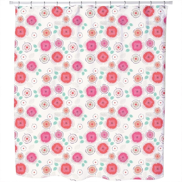 Enchanting Patchwork Flowers Shower Curtain
