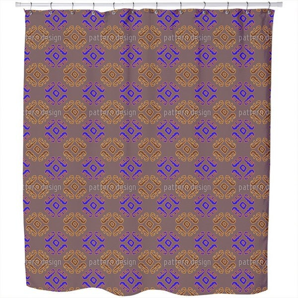 Ethno Signs Brown Shower Curtain