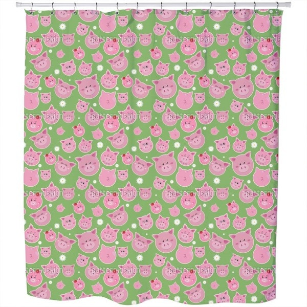 Family Pig Is Very Lucky Shower Curtain