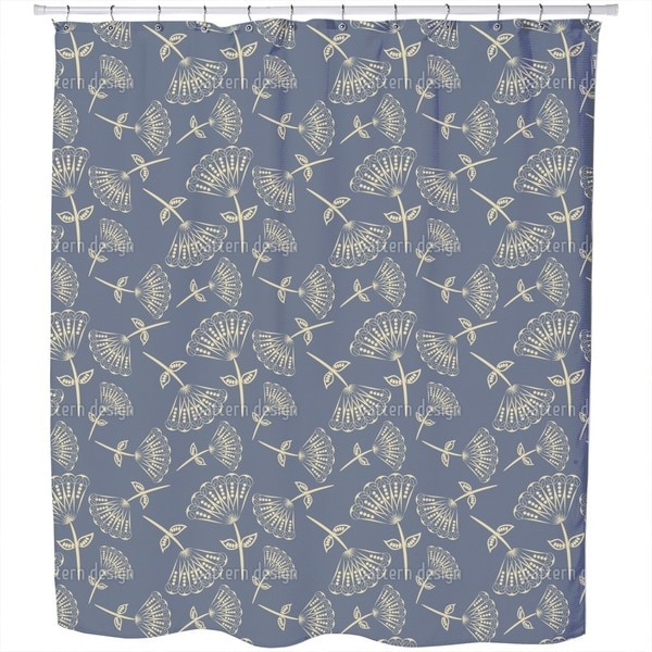 Fan Flowers On Blueprint Shower Curtain
