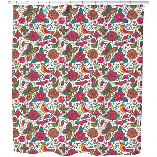 Fauna and Flora in Summer Shower Curtain