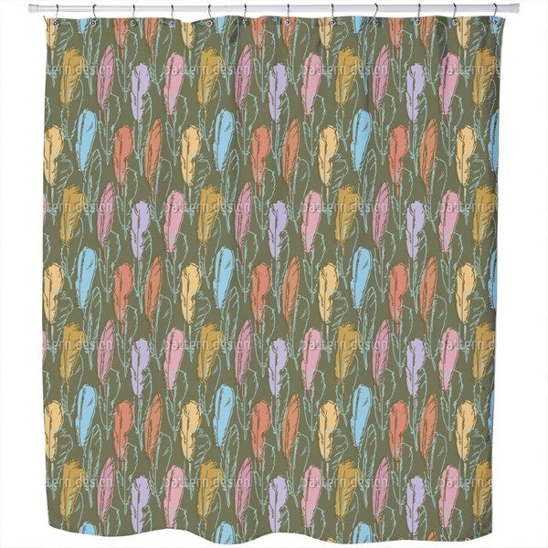 Feathers Handdrawn Colorful Shower Curtain