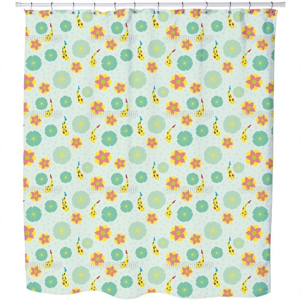 Fishes and Waterlilies Pattern Shower Curtain