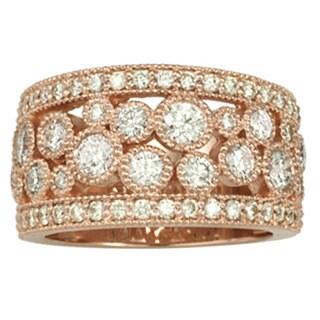 14k Rose Gold 1 3/4ct TDW Diamond Bezel Studded Wedding Band - Pink