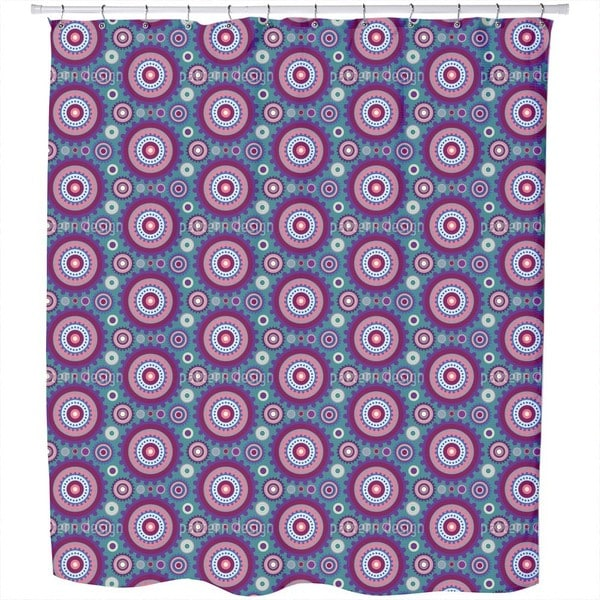 Floral Gear Circles Shower Curtain