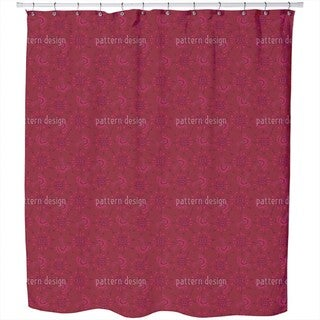 Flora In Cranberry Shower Curtain