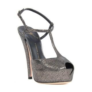 Giuseppe Zanotti Grey Suede T-strap Platform Heel Sandals