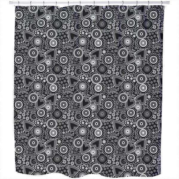 Flower Heart And Circle Shower Curtain