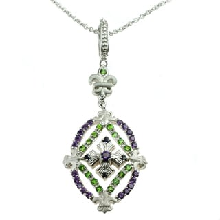 Dallas Prince Amethyst, Chrome Diopside and Blue Sapphire Pendant