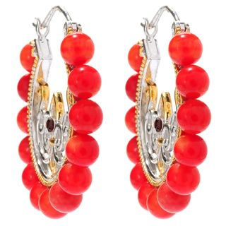 Michael Valitutti Salmon Coral and Garnet Hoop Earrings