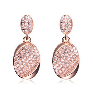 Collette Z Rose Gold Overlay Pave Cubic Zirconia Dangle Earrings