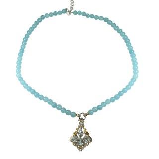 Michael Valitutti Aquamarine Pendant and Beaded Necklace