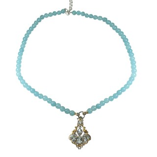 Michael Valitutti Aquamarine Pendant and Beaded Necklace