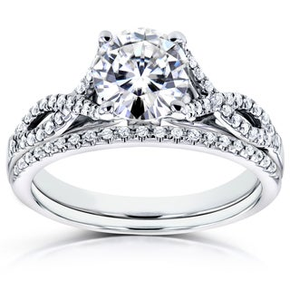 Annello by Kobelli 14k White Gold 1 1/5ct TGW Moissanite (FG) and Diamond (GH) Crossover Bridal Rings Set