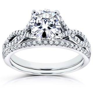 Annello by Kobelli 14k White Gold 1 1/5ct TGW Moissanite (FG) and Diamond (GH) Crossover Bridal Rings Set