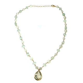 Michael Valitutti Green Amethyst and White Pearl Necklace