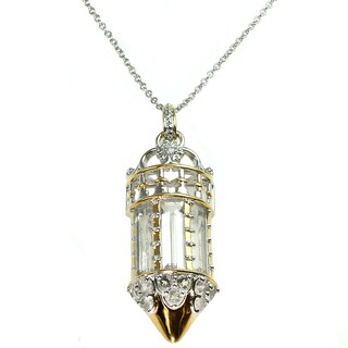 Michael Valitutti White Quartz and White Topaz Window Pendant