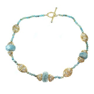 Michael Valitutti African Opal, Aquamarine and Blue Sapphire Necklace