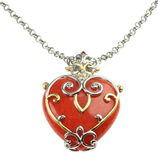 Michael Valitutti Carnelian and Ruby Heart Shaped Pendant