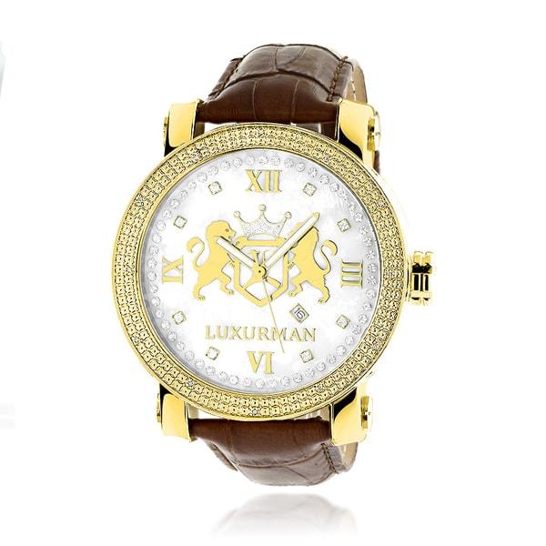 Luxurman Yellow Goldplated Men'S 1/10Ct Tdw Diamond Phantom Watch