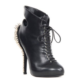Giuseppe Zanotti Black Leather Spike Stud Heel Booties
