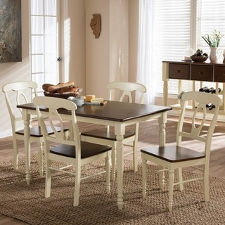 Baxton Studio Natasa French Country Cottage Buttermilk and Cherry Wood 5-piece Dining Set