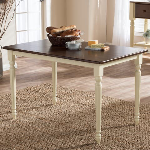 Baxton Studio Natasa French Country Cottage Buttermilk and Cherry Wood Dining Table - Off White