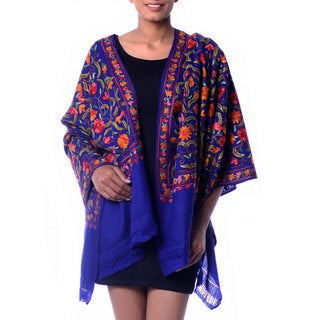 Handcrafted Wool 'Colorful Crocus' Blue Shawl (India)