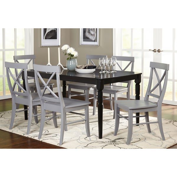 Exceptionnel Simple Living Albury 7 Piece Black And Grey Cross Back Dining Set