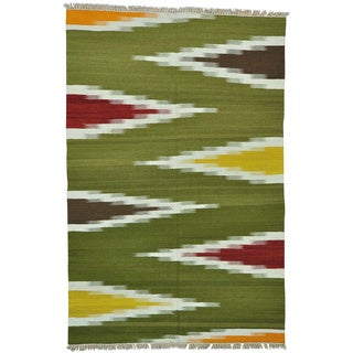 Dazzling Kilim Flat Weave Hand Woven Colorful Oriental Rug (6' x 9'3)