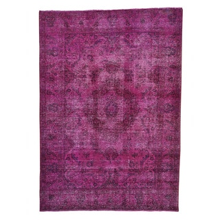 Tabriz Overdyed Pure Wool Hand-knotted Distressed Rug (6'6 x 9'2)