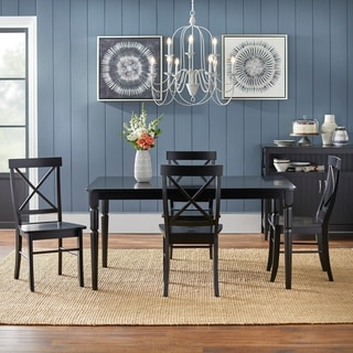 Simple Living Albury Grey and Black Cross Back Dining Set (5 piece)